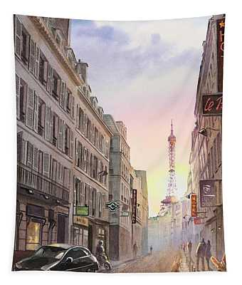 Sunset In Paris Tapestry