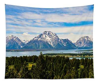 Teton June Panorama Tapestry