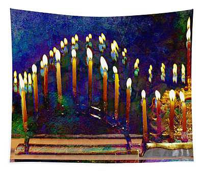 Three Menorahs Tapestry
