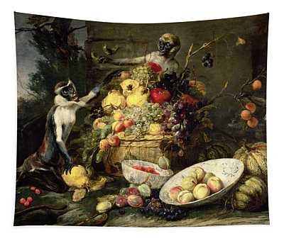 Three Monkeys Stealing Fruit Tapestry
