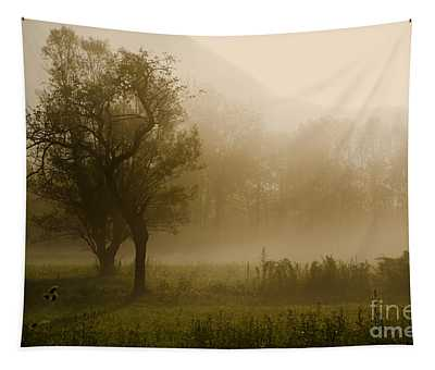 Trees And Fog Tapestry