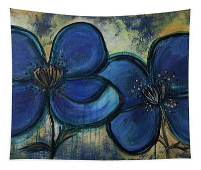 Two Blue Poppies Tapestry