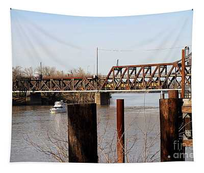 Union Pacific Locomotives Crossing The Old Sacramento Southern Pacific Train Bridge . 7d11606 Tapestry