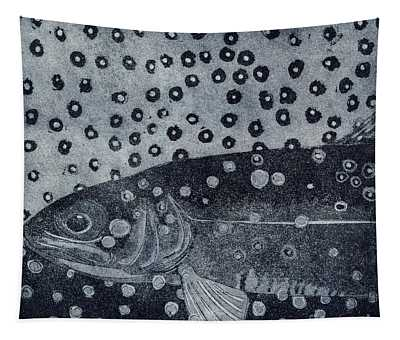 Unique Etching Artwork - Brown Trout  - Trout Waters - Trout Brook - Engraving Tapestry
