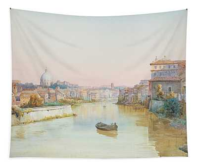 View Of The Tevere From The Ponte Sisto  Tapestry