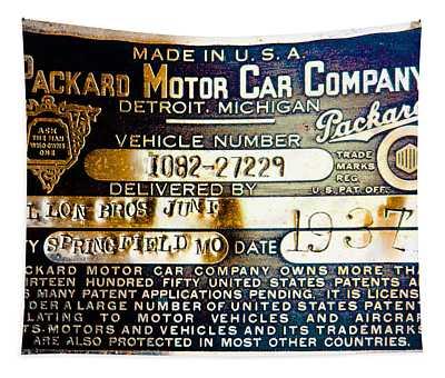 Vintage 1937 Packard Vin Plate Tapestry