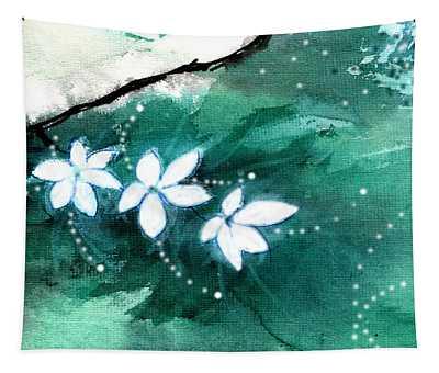 White Flowers Tapestry