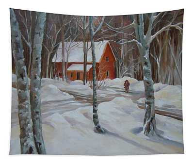 Winter In The Woods Tapestry
