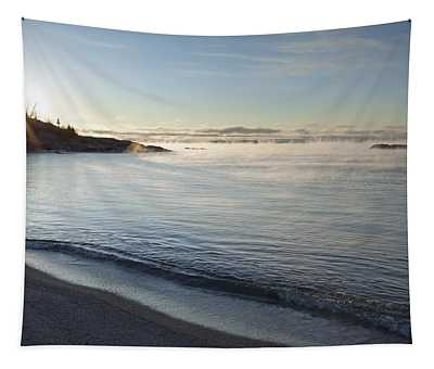 Winter Mist On Lake Superior At Sunrise Tapestry