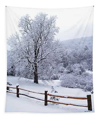 Winter Tree And Fence In The Valley Tapestry