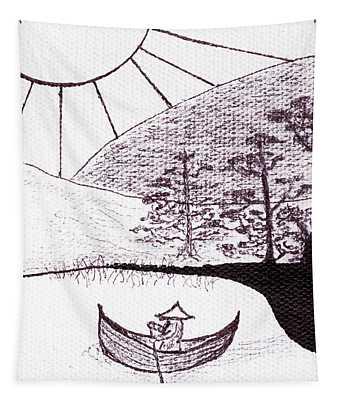 Zen Sumi Asian Lake Fisherman Black Ink On White Canvas Tapestry