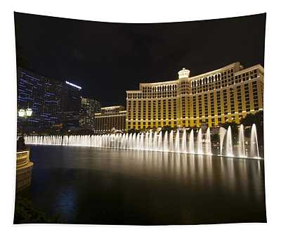 Bellagio Fountain In Las Vegas At Night Tapestry