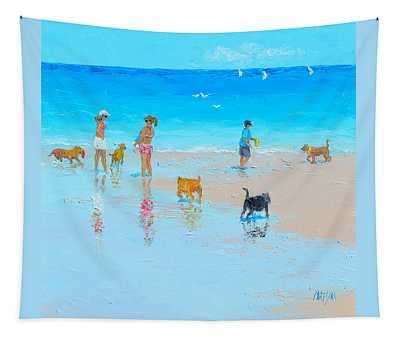 Dog Beach Day Tapestry