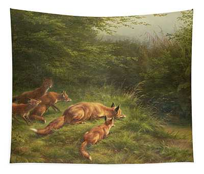 Foxes Waiting For The Prey   Tapestry