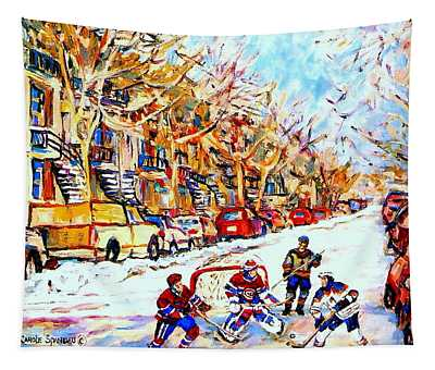 Hockey Game On Colonial Street  Near Roy Montreal City Scene Tapestry