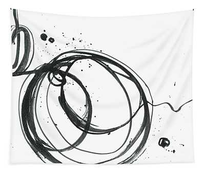 Inward - Revolving Life Collection - Modern Abstract Black Ink Artwork Tapestry