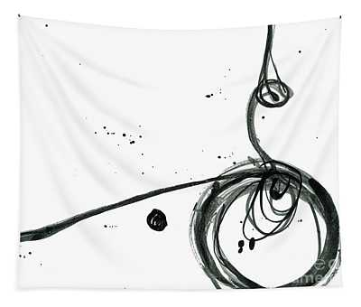 Revolving Life Collection - Modern Abstract Black Ink Artwork Tapestry