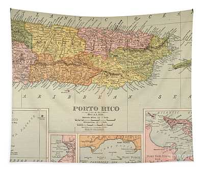 Map: Puerto Rico, 1900 Tapestry