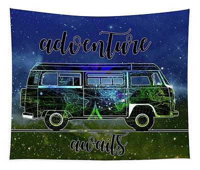 Adventure Awaits World Map Design 6 Tapestry