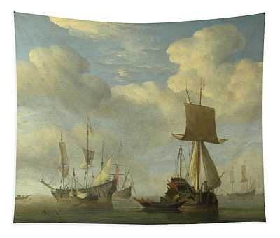 An English Vessel And Dutch Ships Becalmed Tapestry