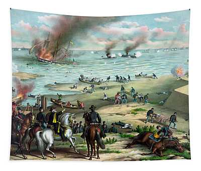 Battle Between The Monitor And Merrimac Tapestry