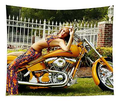 Bikes And Babes Tapestry