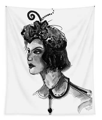 Black And White Watercolor Fashion Illustration Tapestry