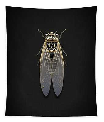 Black Cicada With Gold Accents On Black Canvas Tapestry