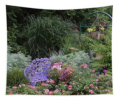 Blue Garden Bench Tapestry