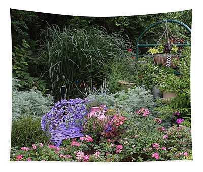 Blue Garden Bench Tapestry