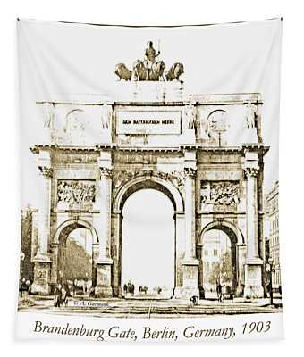 Brandenburg Gate, Berlin Germany, 1903, Vintage Image Tapestry