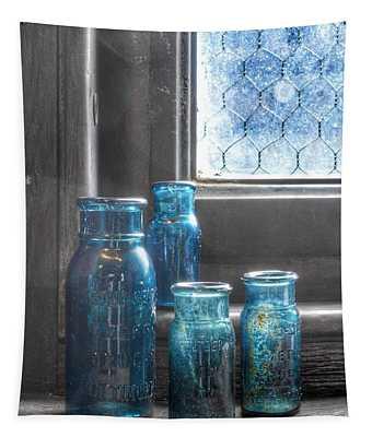 Bromo Seltzer Vintage Glass Bottles Tapestry