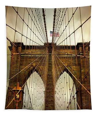 Tapestry featuring the photograph Brooklyn Bridge Twilight by Jessica Jenney