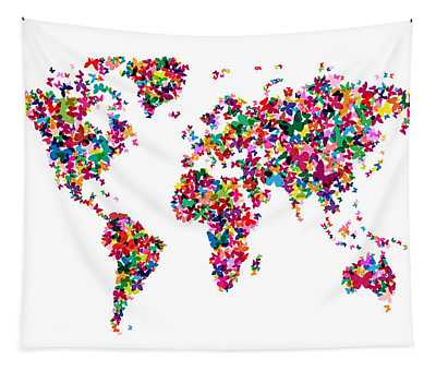 Butterflies Map Of The World Tapestry