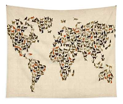 Cats Map Of The World Map Tapestry