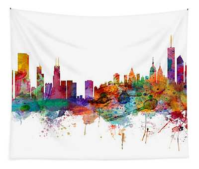 Chicago And New York City Skylines Mashup Tapestry