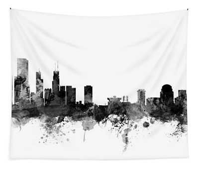 Chicago And St Louis Skyline Mashup Tapestry