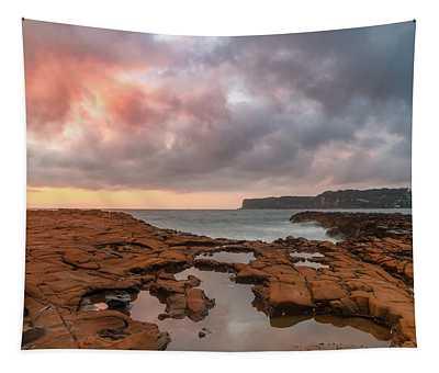 Cloudy Sunrise Seascape Tapestry