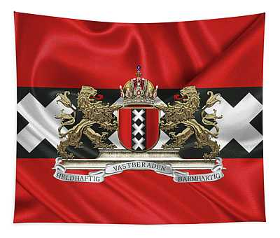 Coat Of Arms Of Amsterdam Over Flag Of Amsterdam Tapestry