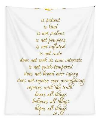 1 Corinthians 13 Love Is White Background Tapestry