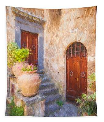 Courtyard Of Tuscany Tapestry