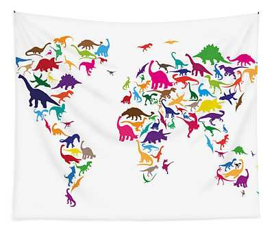 Dinosaur Map Of The World Map Tapestry