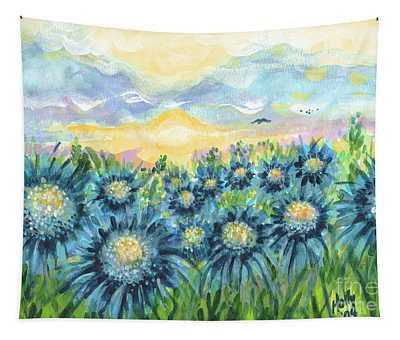 Field Of Blue Flowers Tapestry