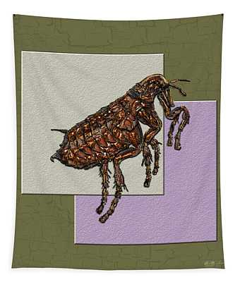 Flea On Abstract Beige Lavender And Dark Khaki Tapestry