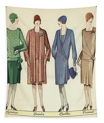 Four Flappers Modelling French Designer Outfits, 1928  Tapestry