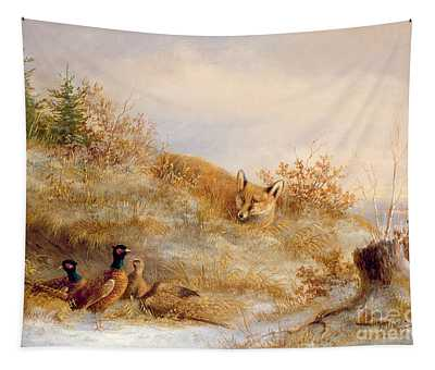 Fox And Pheasants In Winter Tapestry