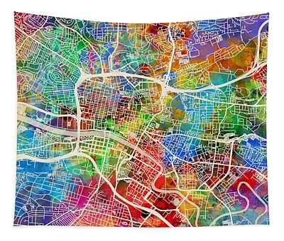 Glasgow Street Map Tapestry