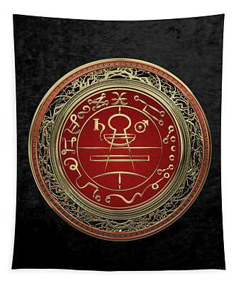 Gold Seal Of Solomon - Lesser Key Of Solomon On Black Velvet  Tapestry