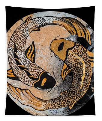 Golden Yin And Yang Tapestry