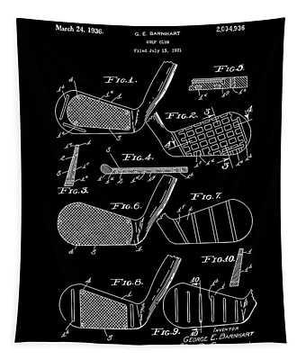 Golf Club Patent Drawing Black 3 Tapestry